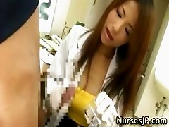 Slutty japanese nurse gives a handjob