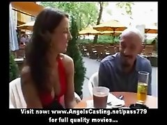 Amateur brunette sweet talking with big guy and taking a walk