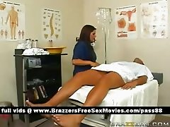 Hot brunette nurse makes a patient a bath
