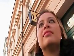 Busty chubby babe pulled out in public to have sex for money