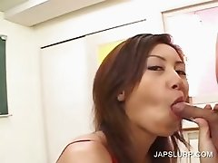 Asian in pantyhose gets twat teased
