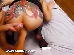 Japanese tatooed slut anal fucked