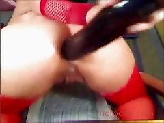Lubed up asshole  fisted by the babe