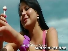 Gorgeous euro babe pulled in public and pussy pounded outdoors for cold cash