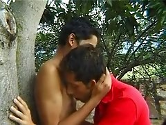 Latino twinks feeding cocks to each other