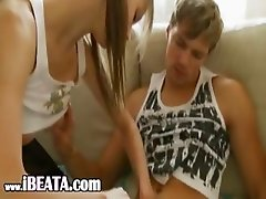 breasty teen fucking on the parents sofa