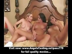 Lesbian threesome with chicks in 69 and licking pussy on couch