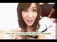 Rika Sugisaki naughty asian babe having fun on the bed