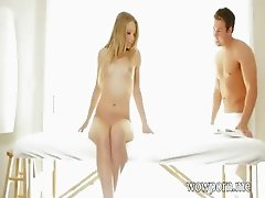 Lovely blonde teen Alyssa screwed hard by her masseur