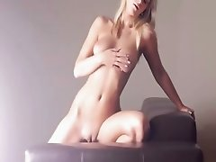 Huge glass toy in her blondies pussy