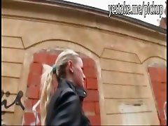 Big tits euro blonde shows off boobs in public and gives head in room