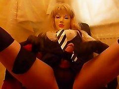 crossdresser plasticface cums twice on black stockings