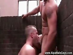 Two well-built dudes sucking each other off on the roof