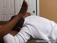 Exaggerated moaning due to having her ass and pussy licked
