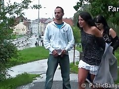 Public sex - threesome in public PART 1