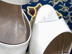 cum on wife's heel sandal.