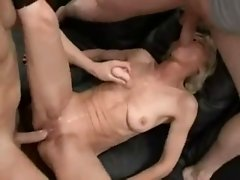 Skinny Granny Threesome Fun