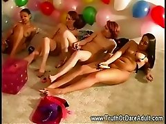 Lesbian party with ladies masturbating