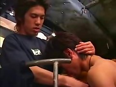 Japan college dude blow job