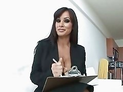 Provocative brunette secretary with huge boobs testing future porn actor