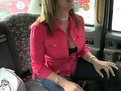 Busty milf customer banged for free fare
