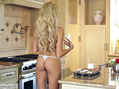 Kinky housewife fucking in the kitchen
