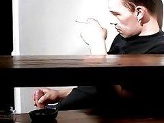 Chain smoking homosexual Jony passionately masturbates solo