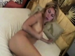 Blonde slut bangs horny guy by using strap on