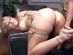 Bound blonde sub slut sucks cock and gets fucked BDSM
