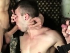 Gay army orgy with muscular hunks in uniform