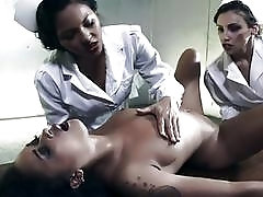 Two horny lesbian nurses dominate and fuck exotic ebony chick