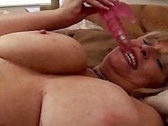 Big tits retro blonde milf fondles herself and fucks with dildo