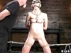 Hogtied blonde slave made to squirt by master BDSM porn