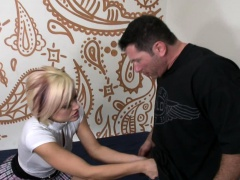 Blonde on her knees sucking before having sex