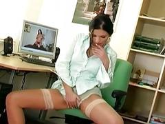 Mili rubbing her pussy wearing sexy stockings