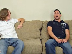 Two gay guys show off their stiff cocks on casting