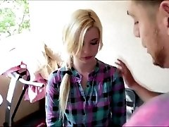 Blonde teen caught smoking weed and blackmailed into a pussy creampie