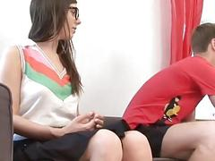 Nerdy brunette teen eagerly agrees to some casual anal sex