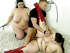 Poor voyeur guy gets punished by strict BBW ladies BDSM