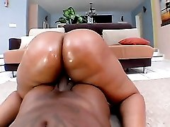 Monster butt on a black girl riding his rod