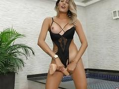 Transsexual Slut Bella Atrix Fills Her Tight Ass with a Big Dildo
