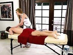 fluent babes on special massage bed