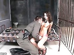 Military officer eats out girl in prison