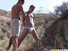 Twink tied up and blown hard outdoors