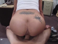 Latina babe fucked on desk in office