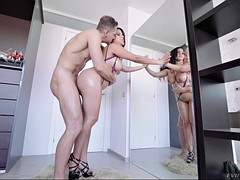 nacho vidal fucks kesha ortega against the full-length mirror