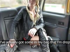 Pretty blonde slut fucked by fake driver