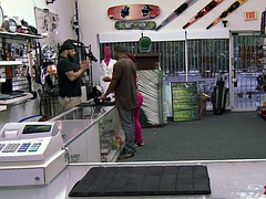 Sexy ebony chick selling a handjob at the pawn shop