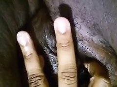 Great closeup of a chubby black woman's cunt getting all we