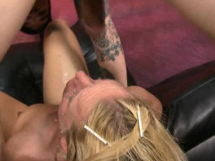 Flattened Out Blonde Getting Her Face Wrecked With Dick